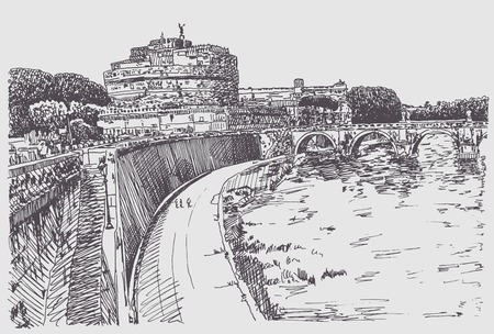 fortress: original hand drawing of cityscape with fortress of SantAngelo in Rome, Italy, vector illustration Illustration