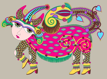 unusual ukrainian traditional tribal art in karakoko style, folk ethnic animal, vector illustration Vector