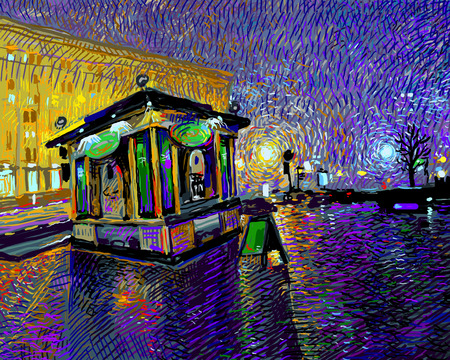 city alley: digital art  painting of night Kyiv city, vector illustration