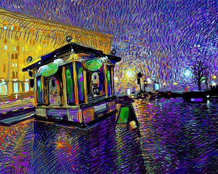 Digitaler Kunstmalerei der Nacht Kiew Stadt, Vektor-Illustration Standard-Bild - 34549314