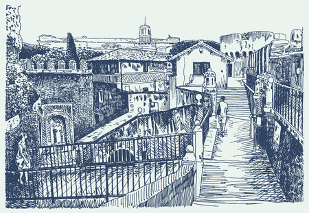 famous painting: Drawing of Italy cityscape - Rome with fortress of SantAngelo, sketch vector illustration Illustration