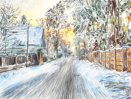 digital painting of beautiful winter in the country, vector illustration Vector