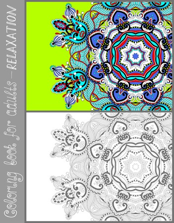 coloring book page: unique coloring book page for adults - flower paisley design, joy to older children and adult colorists, who like line art and creation, vector illustration