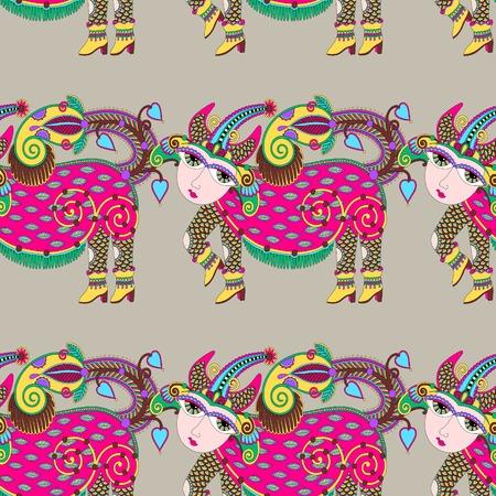 ethnic seamless pattern fabric with unusual tribal animal in ukrainian karakoko style, repetitive folk background, vector illustration Vector