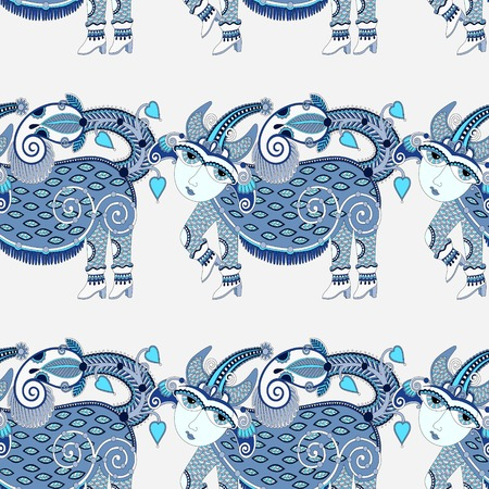 ethnic seamless pattern fabric with unusual tribal animal in ukrainian karakoko style, repetitive folk background, vector illustration Vector
