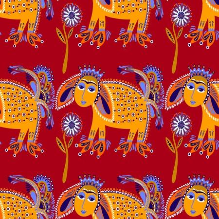 ethno: ethnic seamless pattern fabric with unusual tribal animal in ukrainian karakoko style, repetitive folk background, vector illustration