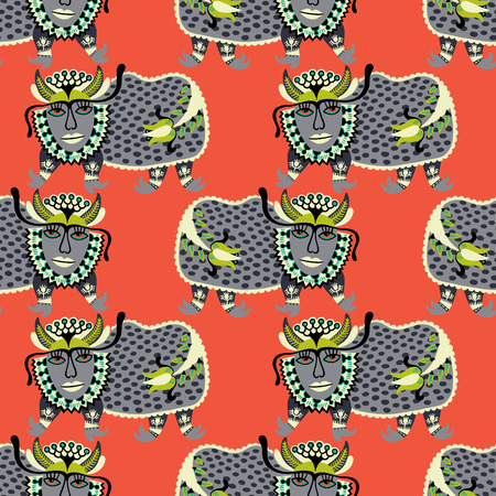repetitive: ethnic seamless pattern fabric with unusual tribal animal in ukrainian karakoko style, repetitive folk background, vector illustration