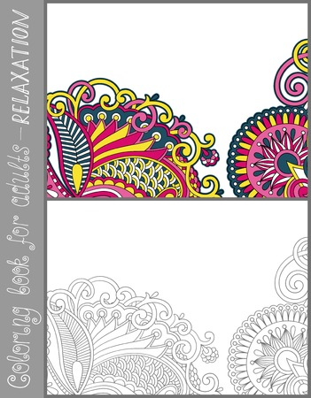color pages: unique coloring book page for adults - flower paisley design, joy to older children and adult colorists, who like line art and creation, vector illustration
