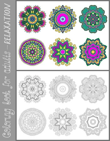 fantasy book: unique coloring book page for adults - flower paisley design, joy to older children and adult colorists, who like line art and creation, vector illustration