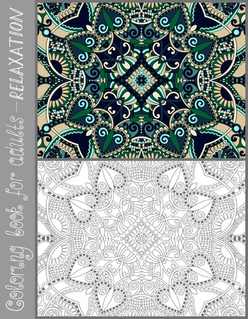adult: unique coloring book page for adults - flower paisley design, joy to older children and adult colorists, who like line art and creation, vector illustration