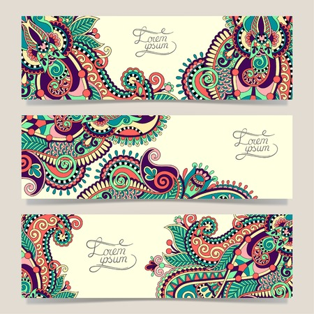 floral abstract: Set of three horizontal banners with decorative ornamental flowers, floral pattern in oriental style, paisley background, vector illustration