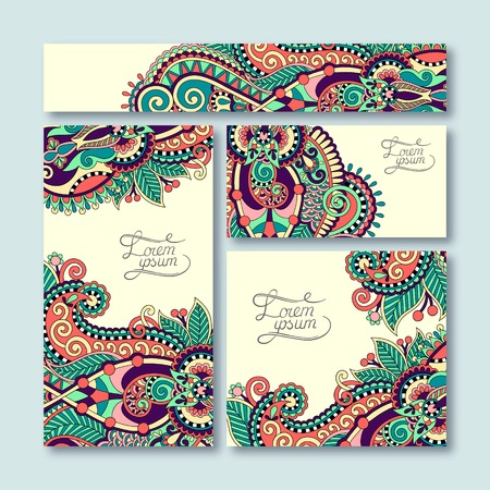 and creative: collection of decorative floral greeting cards in vintage style, ethnic pattern, vector illustration