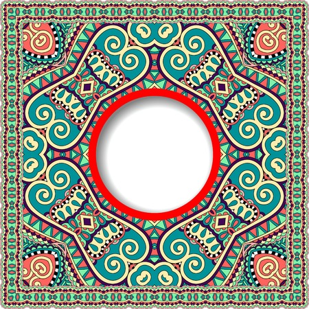 tapis: floral round pattern in ukrainian oriental ethnic style for your greeting card or invitation, template frame design for card, vintage lace doily, vector illustration