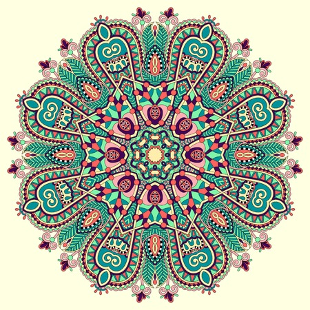 mandala, cirkel decoratief spirituele Indiase symbool van de lotusbloem, ronde ornament patroon, vector illustratie Stock Illustratie