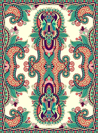 floral carpet: ukrainian floral carpet design for print on canvas or paper, karakoko style ornamental pattern, vector illustration
