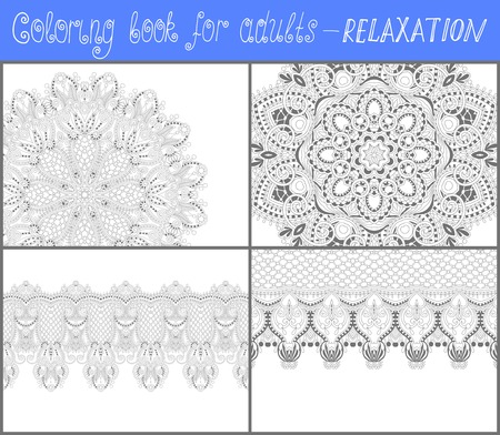 kaleidoscopic: unique coloring book page for adults - flower paisley design, joy to older children and adult colorists, who like line art and creation, vector illustration