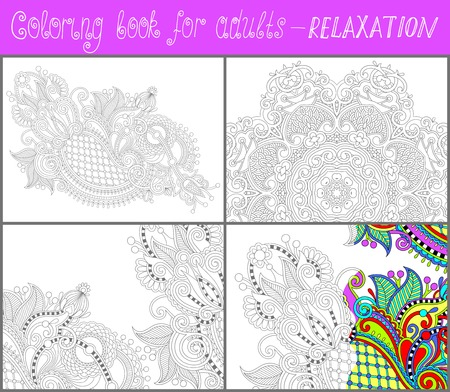 unique coloring book page for adults - flower paisley design, joy to older children and adult colorists, who like line art and creation, vector illustration Vector