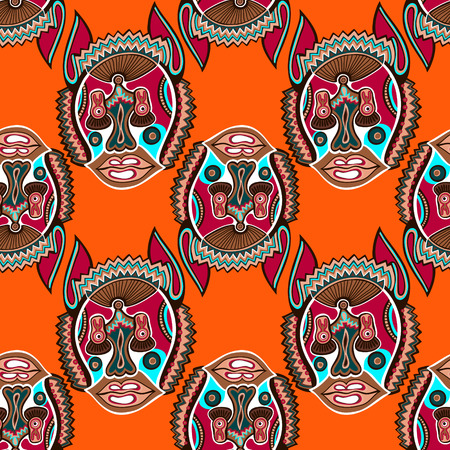 repetitive: seamless pattern fabric with unusual tribal animal in ukrainian karakoko style, repetitive folk background, vector illustration