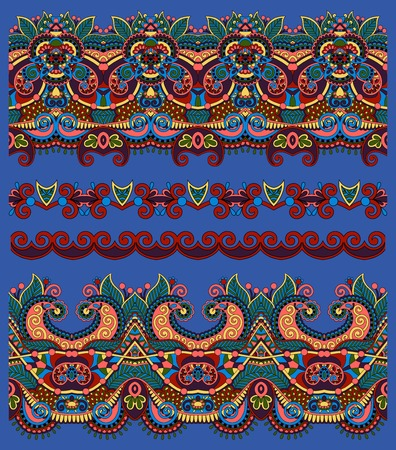 ultramarine: seamless ethnic floral paisley stripe pattern, border set, ornament in ultramarine color for print or embroidery ribbon, or for the design of polygraphy or web