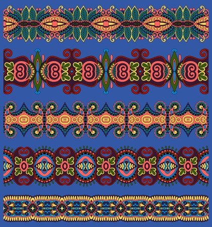 trendy tissue: seamless ethnic floral paisley stripe pattern, border set, ultramarine color ornament for print or embroidery ribbon, or for the design of polygraphy or web