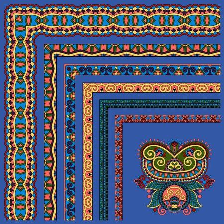ultramarine: floral vintage frame design. Vector set. All components are easy editable, ultramarine color Illustration