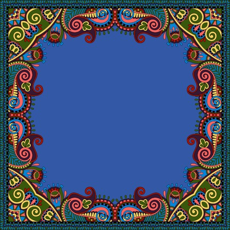 ultramarine: floral vintage frame, ukrainian ethnic style. Vector illustration in ultramarine color