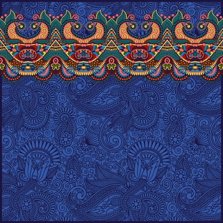ultramarine: ornamental background with flower ribbon, stripe pattern, greeting card in ultramarine color, vector illustration