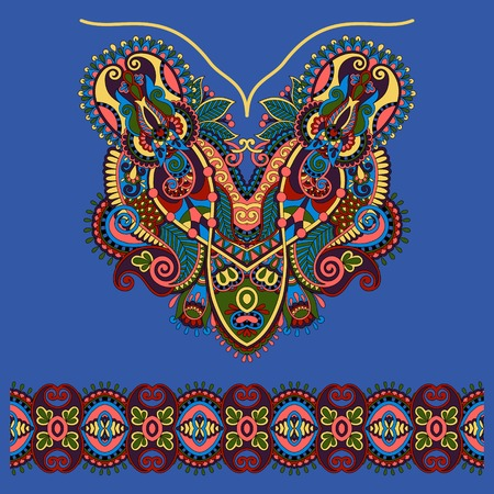 ultramarine: Neckline ornate floral paisley embroidery fashion design, ukrainian ethnic style in ultramarine color. Good design for print clothes or shirt. Vector illustration
