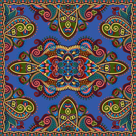 ultramarine: Traditional ornamental floral paisley bandanna. Square ornament. You can use this pattern in the design of carpet, shawl, pillow, cushion, ultramarine color