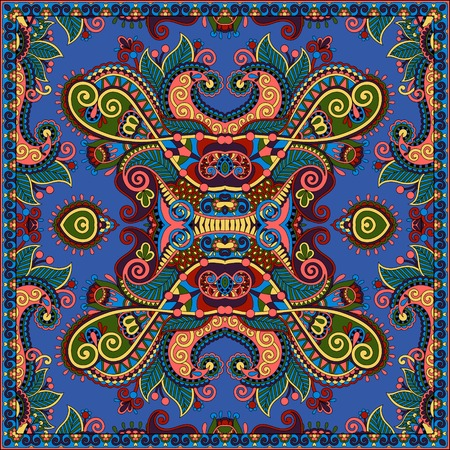 hankie: Traditional ornamental floral paisley bandanna. Square ornament. You can use this pattern in the design of carpet, shawl, pillow, cushion, ultramarine color
