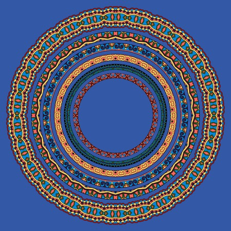 ultramarine: set of round geometrical frames, circle border ornament in ultramarine color, vector illustration