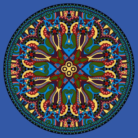 ultramarine: decorative design of circle dish template, round geometric pattern in ultramarine color, vector illustration