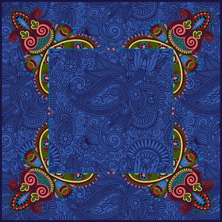 disegni cachemire: cornice floreale, ornamento etnico ucraino su sfondo paisley con posto per il testo in colore blu oltremare, illustrazione vettoriale Vettoriali