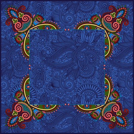 ultramarine: floral frame, ethnic ukrainian ornament on paisley background with place for your text in ultramarine color, vector illustration Illustration
