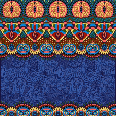 ultramarine: ethnic stripe ornament on floral background, perfect for invitation, book cover, packing design, greeting card and other in ultramarine color, vector illustration Illustration