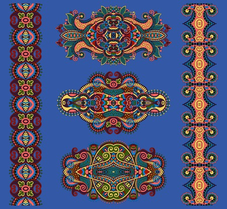 ultramarine: ornamental floral adornment in ultramarine color, vector illustration