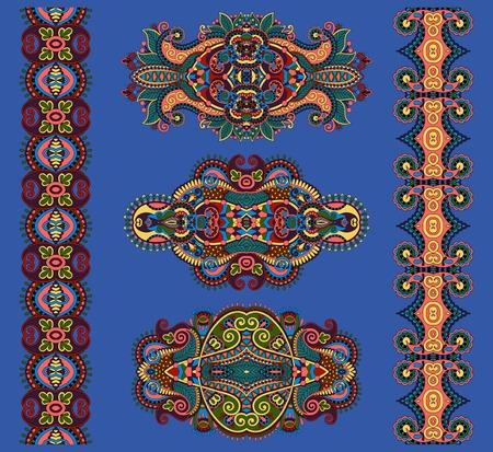 adornment: ornamentale ornamento floreale in colore blu oltremare, illustrazione vettoriale Vettoriali