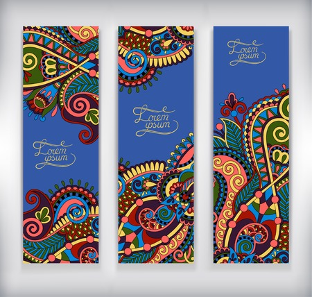 ultramarine: set of decorative flower template banner, card, web design with place for your text in ultramarine color, vector illustration