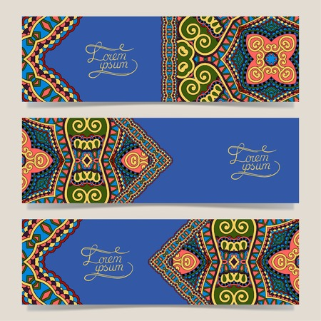 ultramarine: Set of three horizontal banners with decorative ornamental flowers in ultramarine color, floral pattern in oriental style, paisley background, vector illustration