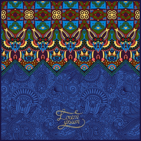 ultramarine: ornamental floral folkloric background for invitation, cover design, fabric pattern or page decoration, ethnic border on vintage flower background, ultramarine color