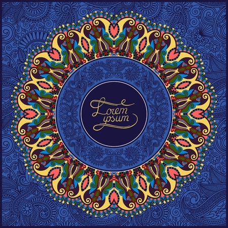 ultramarine: round ornamental frame, circle floral background, mandala pattern in ultramarine color, vector illustration Illustration