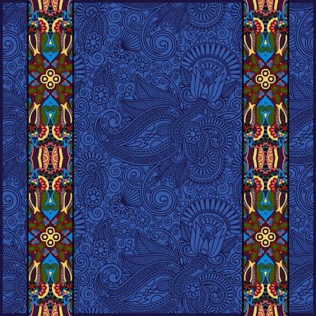 ultramarine: lace border stripe in ornate floral background in ultramarine color, vector illustration
