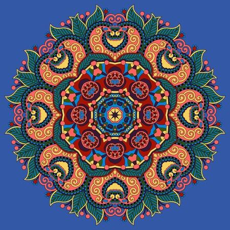 mandala, circle decorative spiritual indian symbol of lotus flower in ultramarine color, round ornament pattern, vector illustration Vector