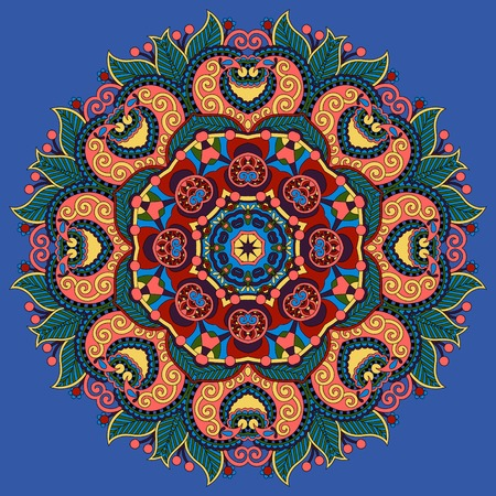 ultramarine: mandala, circle decorative spiritual indian symbol of lotus flower in ultramarine color, round ornament pattern, vector illustration Illustration