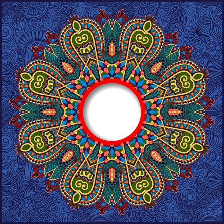 ultramarine: floral round pattern in ukrainian oriental ethnic style for your greeting card or invitation, template frame design for card, vintage lace doily, ultramarine color