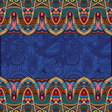 ultramarine: ornamental floral folkloric background for invitation, cover design, fabric pattern or page decoration, ethnic border on vintage flower background, ultramarine color
