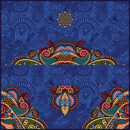 ultramarine: invitation card with neat ethnic background, royal ornamental design element for packing, web decoration, book cover, brochure and other, ultramarine color
