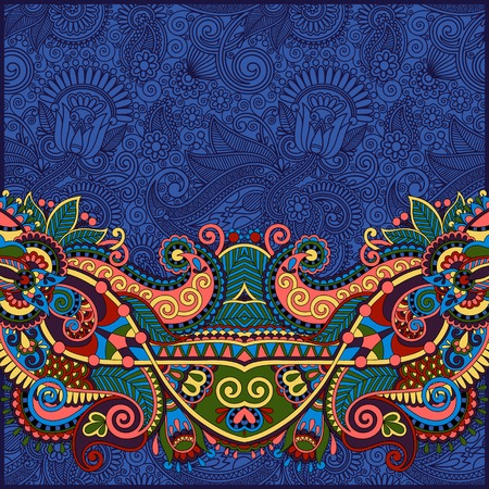 ultramarine: paisley design on decorative floral background for invitation, packing paper, book cover, web page decoration and other in ultramarine color, vector illustration