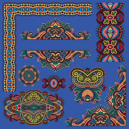 ultramarine: set of paisley floral design elements for page decoration, frame, corner, divider, circle snowflake, stripe pattern, ultramarine color Illustration