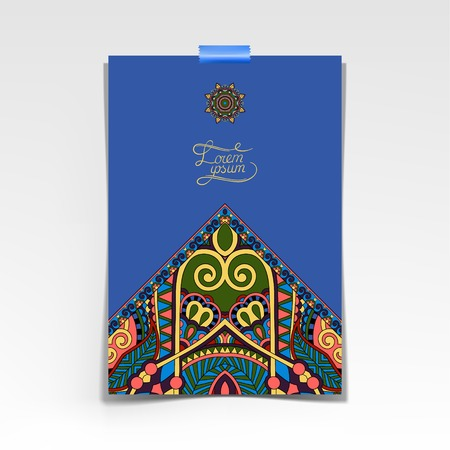 ultramarine: decorative sheet of paper with oriental floral design and place for your text in ultramarine color, vector illustration